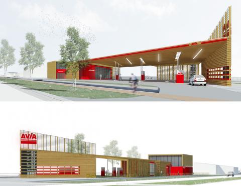 Avia, tankstation, duurzaam, hout
