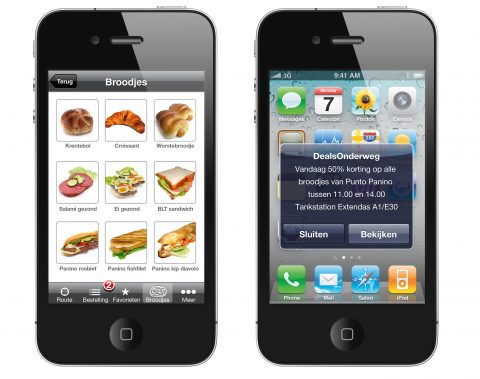 App, mobiel, broodjes, smartphone