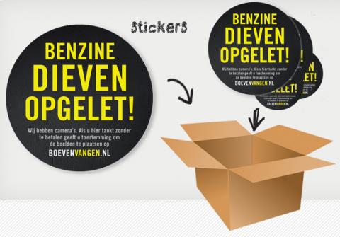 Boevenvangen.nl, stickerpakket, tankstation, benzinedief