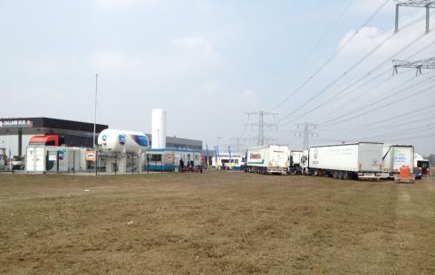 LNG, tankstation, demodag, vrachtwagen, vrachtauto, vloeibaar aardgas